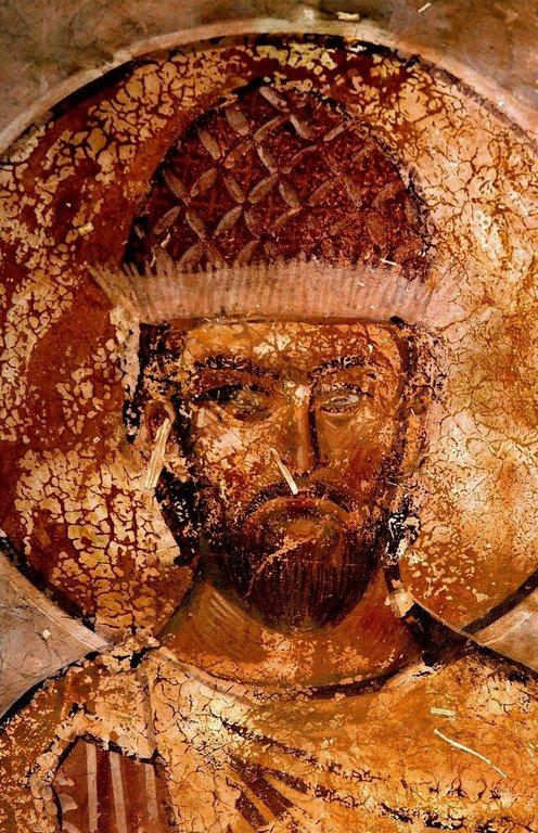 Святой Великомученик Иаков Персянин. Фреска собора Христа Спасителя в Цаленджихе, Грузия. XIV век. Иконописец Мануил Евгеник.