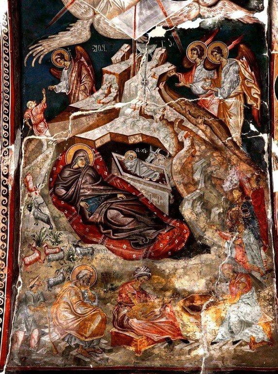 Рождество Христово. Фреска церкви Святого Георгия в монастыре Убиси, Грузия. Середина - вторая половина XIV века.
