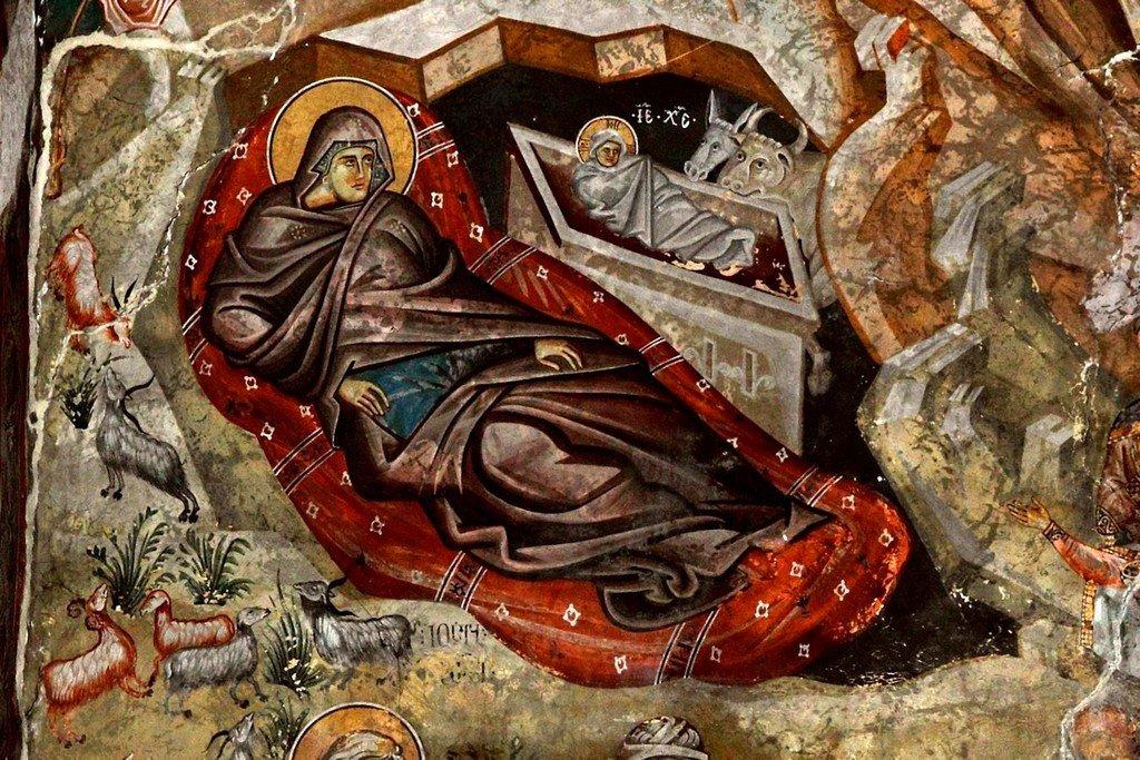 Рождество Христово. Фреска церкви Святого Георгия в монастыре Убиси, Грузия. Середина - вторая половина XIV века. Фрагмент.