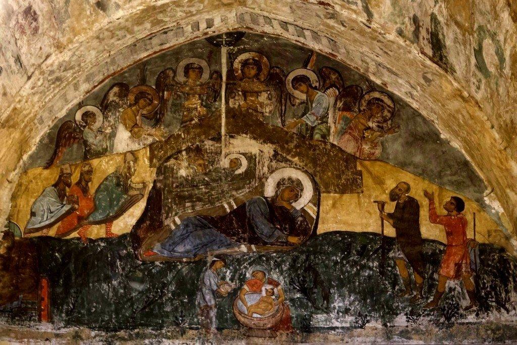 Рождество Христово. Фреска храма Святого Саввы в монастыре Сапара, Грузия. XIV век.