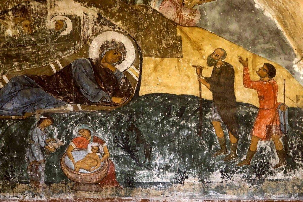 Рождество Христово. Фреска храма Святого Саввы в монастыре Сапара, Грузия. XIV век. Фрагмент.