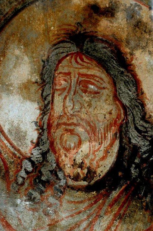 Святой Иоанн Предтеча. Фреска церкви Святых Архангелов в Ипрари, Сванетия, Грузия. 1096 год. Иконописец Тевдоре.