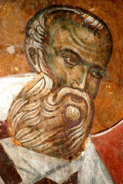 Святитель Григорий Богослов. Фреска церкви в Сори, Грузия. Конец XIV века.