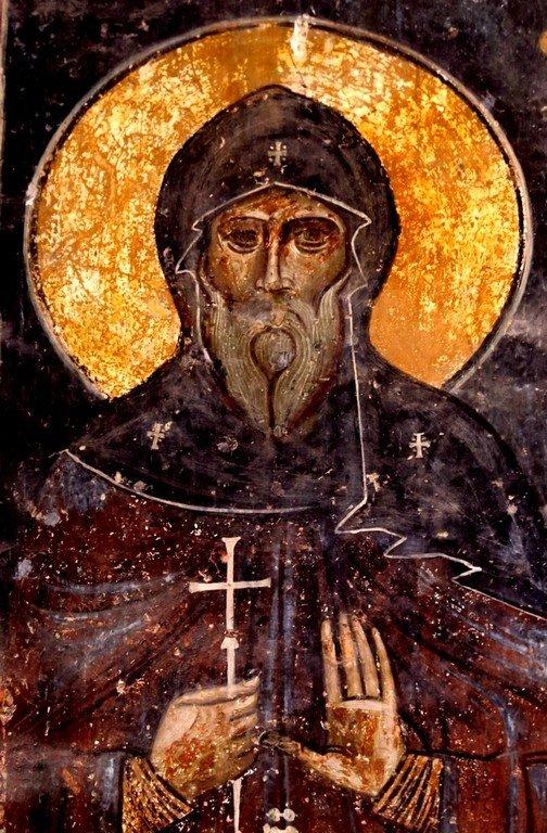 Святой Преподобный Шио Мгвимский. Фреска монастыря Ахтала, Армения. Образ написан в XIII веке, когда монастырь был Православным, грузинскими мастерами.