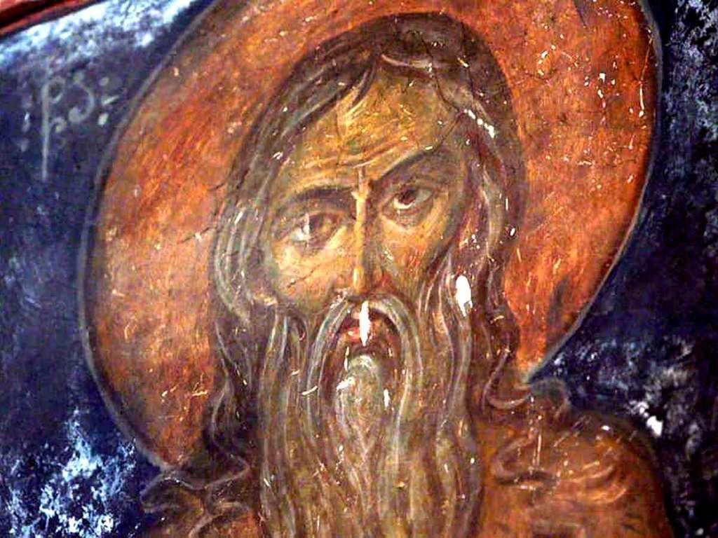 Лик Святого. Фреска монастыря Зарзма, Грузия. Середина XIV века.