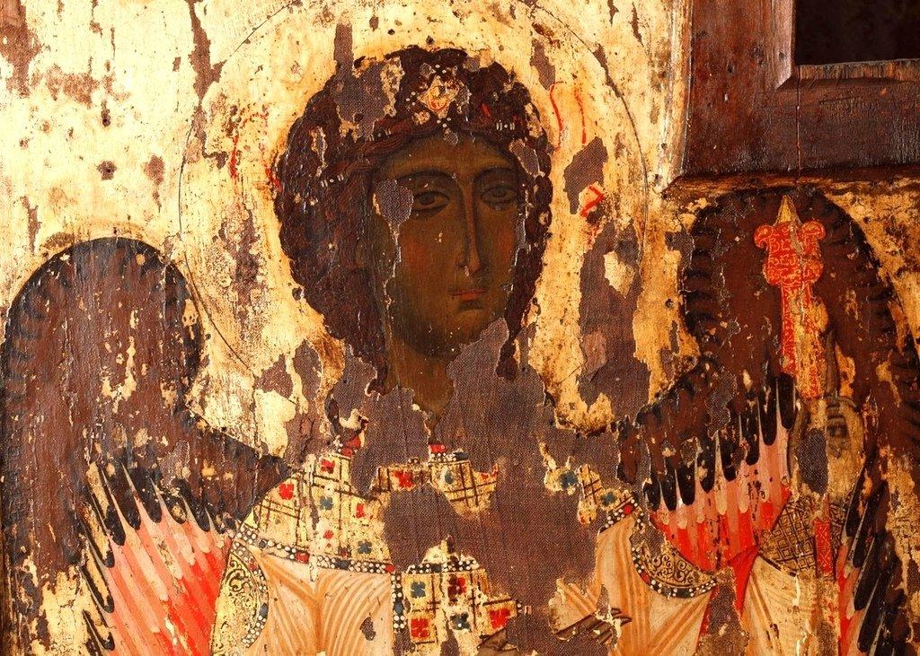 Складень с изображением Господа Иисуса Христа и Архангелов. Церковь Пророка Ионы в Енаши, Сванетия, Грузия. Фрагмент.