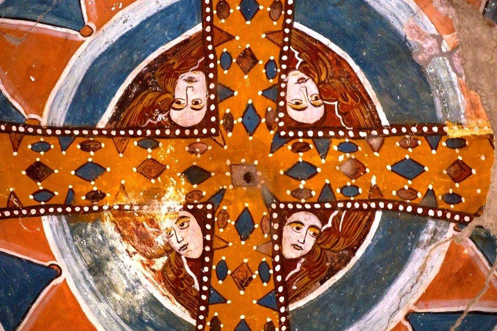 Вознесение Святого Креста. Фреска собора Святого Николая в Никорцминда, Грузия. XVI - XVII вв. Фрагмент.