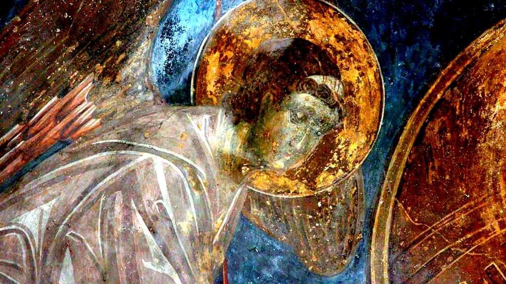 Пресвятая Богородица с Младенцем и предстоящими Архангелами. Фреска монастыря Зарзма, Грузия. Середина XIV века. Фрагмент.