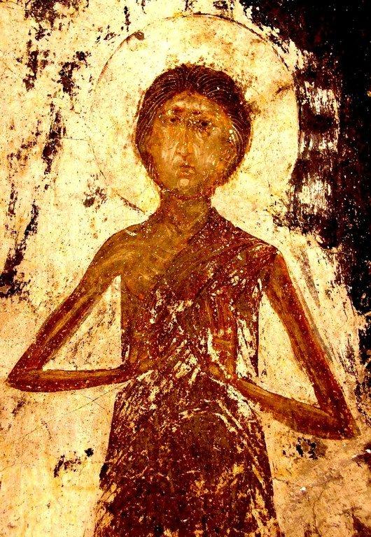 Святая Преподобная Мария Египетская. Фреска монастыря Вардзиа, Грузия. XII век.