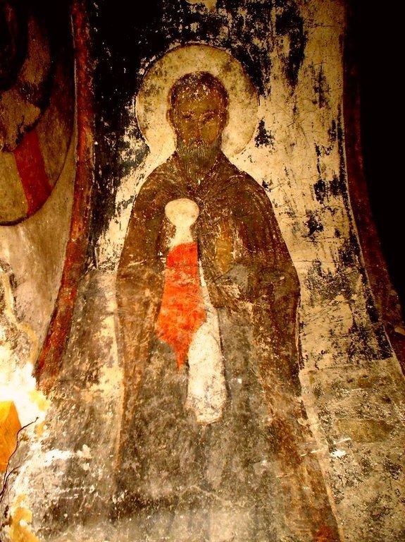 Святой Преподобный Зосима Палестинский. Фреска монастыря Вардзиа, Грузия. XII век.