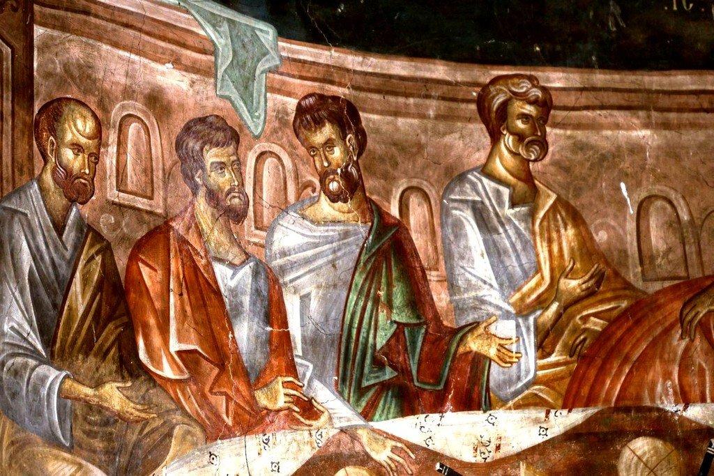 Тайная Вечеря. Фреска церкви Святого Георгия в монастыре Убиси, Грузия. Середина - вторая половина XIV века. Фрагмент.