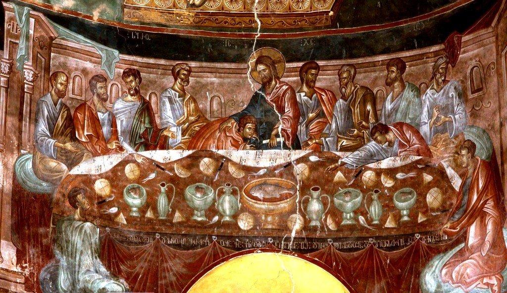 Тайная Вечеря. Фреска церкви Святого Георгия в монастыре Убиси, Грузия. Середина - вторая половина XIV века.
