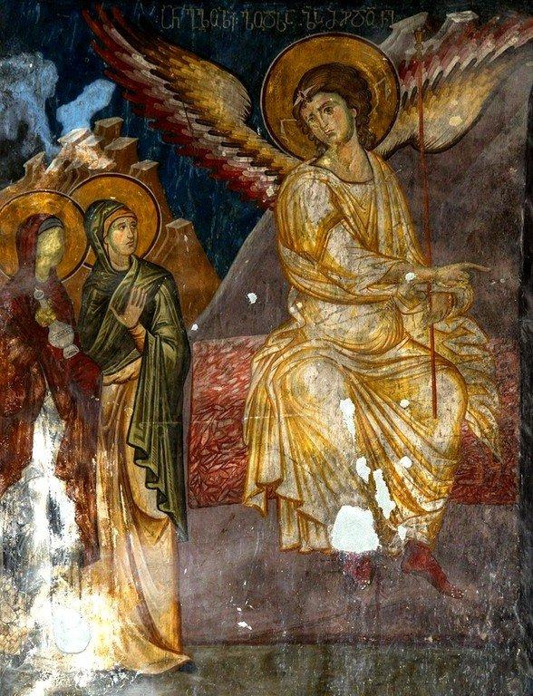 Явление Ангела Господня женам-мироносицам. Фреска монастыря Сапара, Грузия.