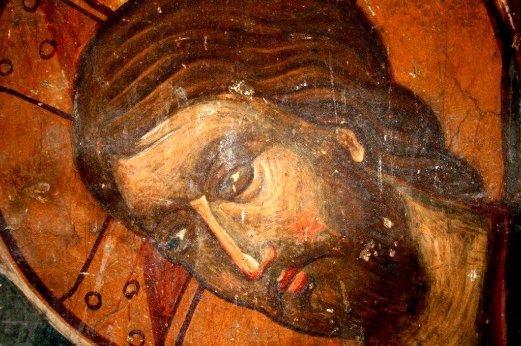 Сошествие во ад. Фреска монастыря Зарзма, Грузия. Середина XIV века. Фрагмент. Лик Спасителя.