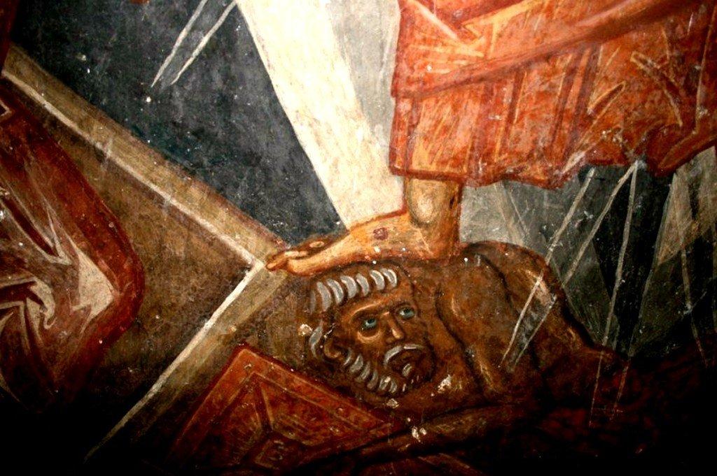 Сошествие во ад. Фреска монастыря Зарзма, Грузия. Середина XIV века. Фрагмент. Христос попирает побеждённого диавола.