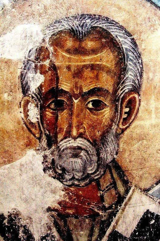 Святитель Николай, Архиепископ Мир Ликийских, Чудотворец. Фреска храма Атени Сиони (Атенский Сион), Грузия. XI век.
