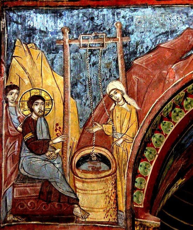 Беседа Христа с самарянкой. Фреска собора Светицховели во Мцхета, Грузия.