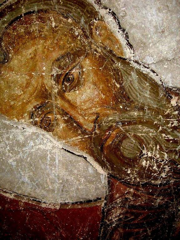 Лик Святого Евангелиста. Фреска храма Успения Пресвятой Богородицы в монастыре Тимотесубани, Грузия.1205 - 1215 годы.