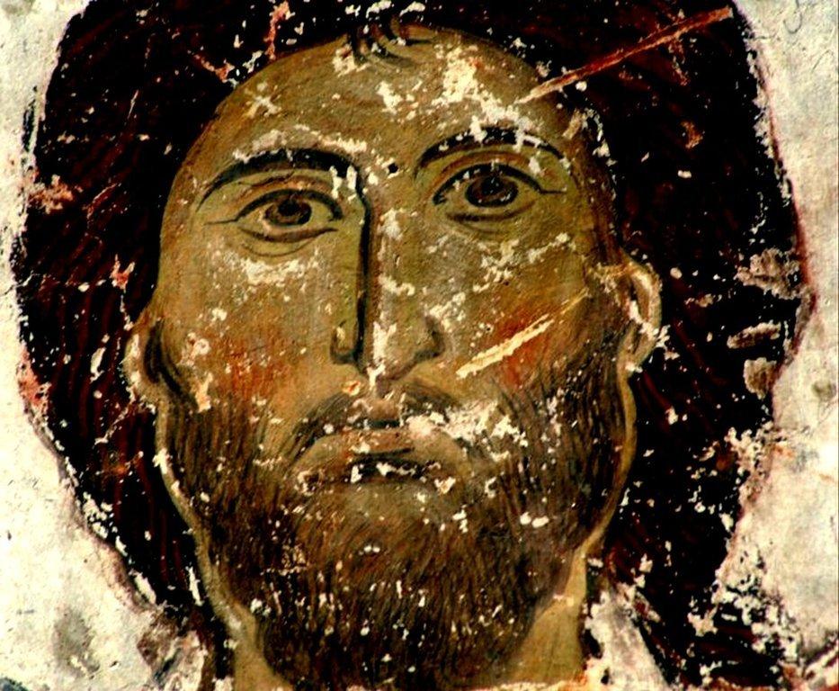 Лик. Фреска храма Успения Пресвятой Богородицы в монастыре Тимотесубани, Грузия.1205 - 1215 годы.