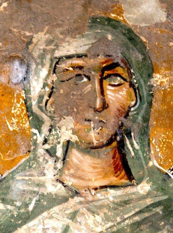 Святая Мученица. Фреска собора Христа Спасителя в Цаленджихе, Грузия. Конец XIV века. Иконописец Мануил Евгеник.
