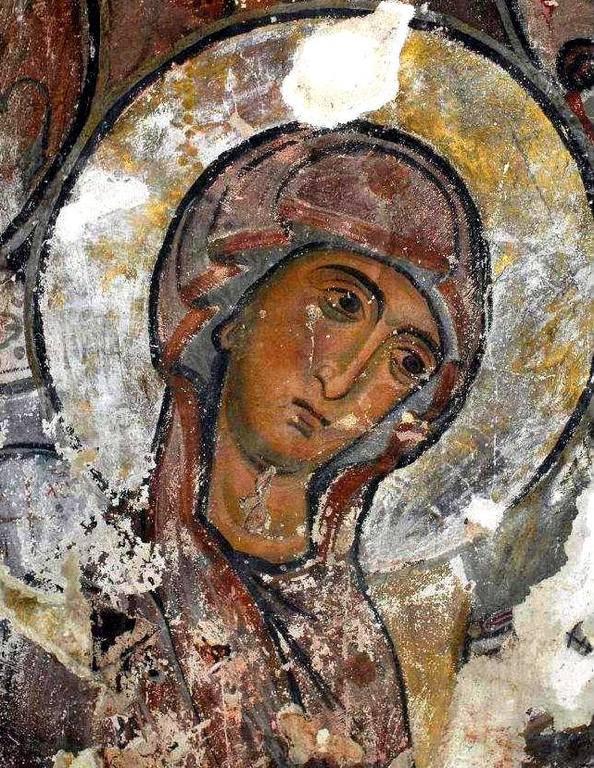 Лик Пресвятой Богородицы. Фреска монастыря Сапара, Грузия. XIII век.