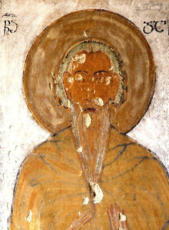 Святой Преподобный Давид Гареджийский. Фреска монастыря Удабно в Давидо-Гареджийской пустыне, Грузия. XI век.