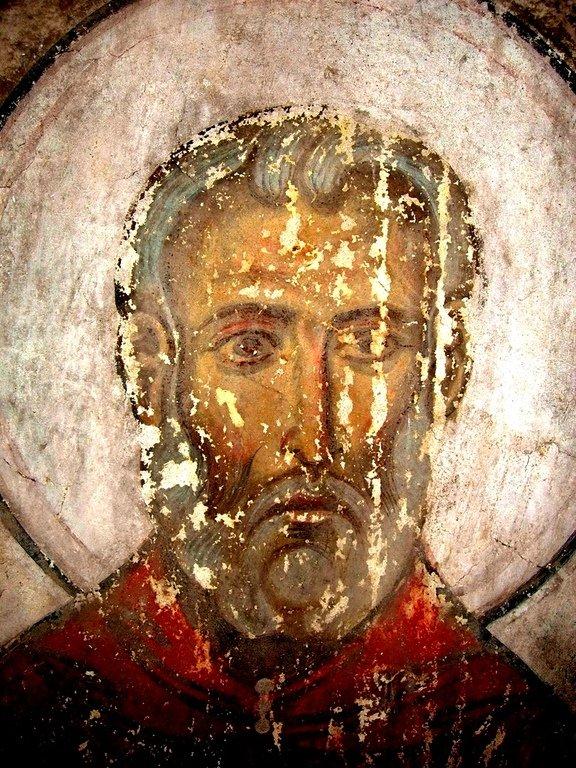 Лик Преподобного. Фреска храма Успения Пресвятой Богородицы в монастыре Тимотесубани, Грузия.1205 - 1215 годы.