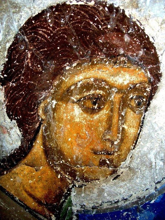Лик Ангела Господня. Фреска храма Успения Пресвятой Богородицы в монастыре Тимотесубани, Грузия.1205 - 1215 годы.