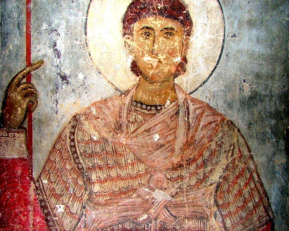Святой Воин. Фреска храма Успения Пресвятой Богородицы в монастыре Тимотесубани, Грузия.1205 - 1215 годы.