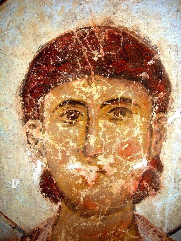 Лик Святого Воина. Фреска храма Успения Пресвятой Богородицы в монастыре Тимотесубани, Грузия.1205 - 1215 годы.
