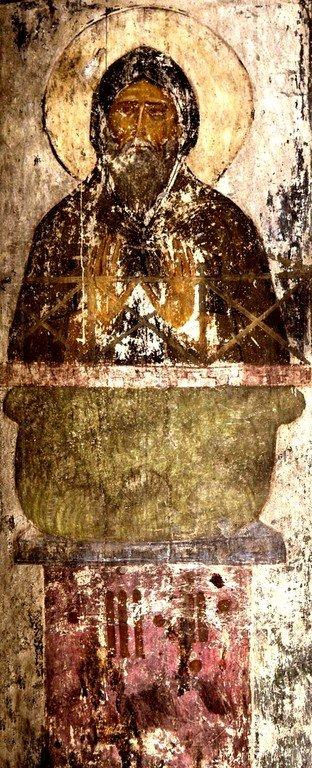 Святой Преподобный Симеон Столпник. Фреска пещерного монастыря Вардзиа, Грузия. XII век.