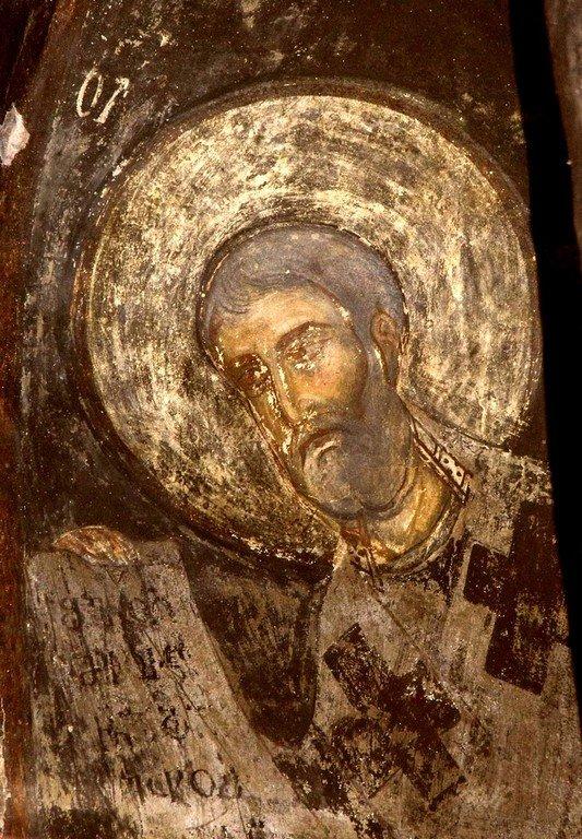 Святитель. Фреска пещерного монастыря Вардзиа, Грузия. XII век.