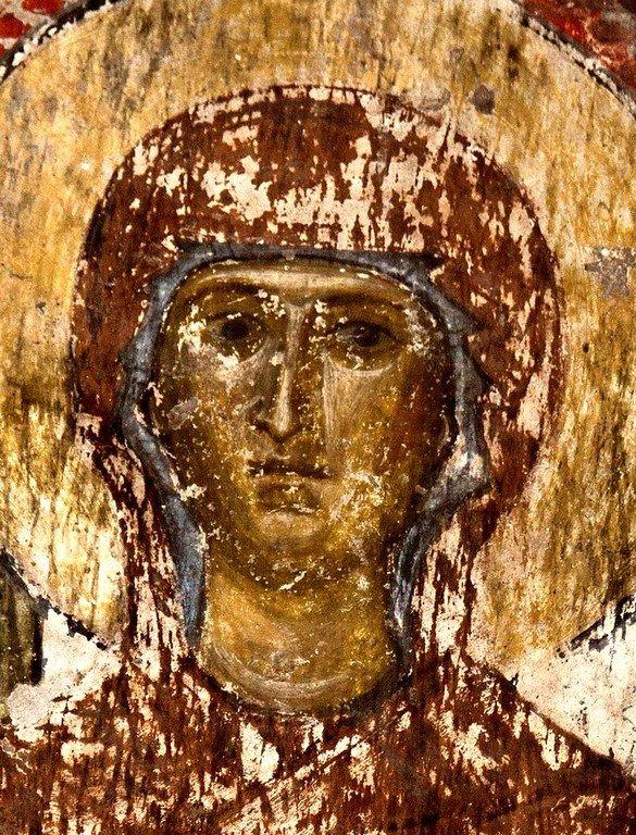 Лик Пресвятой Богородицы. Фреска пещерного монастыря Вардзиа, Грузия. XII век.