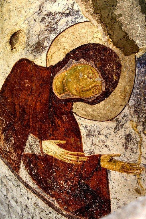 Пресвятая Богородица. Фреска пещерного монастыря Вардзиа, Грузия. XII век.