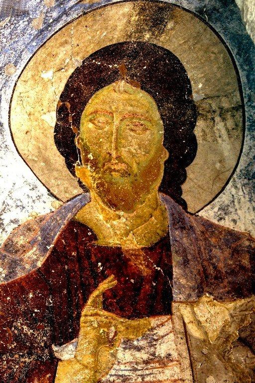 Христос Вседержитель. Фреска пещерного монастыря Вардзиа, Грузия. XII век.