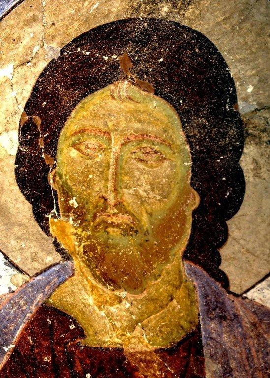 Христос Вседержитель. Фреска пещерного монастыря Вардзиа, Грузия. XII век. Лик Спасителя.