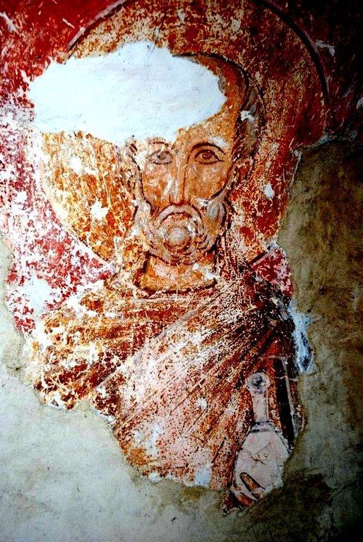 Святой Преподобный Сампсон Странноприимец. Фреска церкви в Сори, Грузия. Конец XIV века.