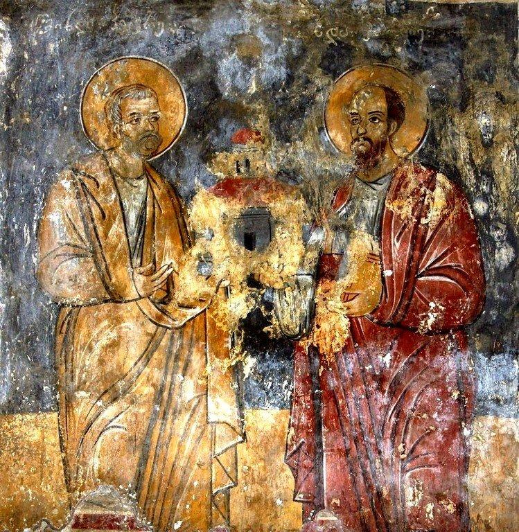 Святые Апостолы Пётр и Павел. Фреска монастыря Мартвили, Грузия. XVII век.