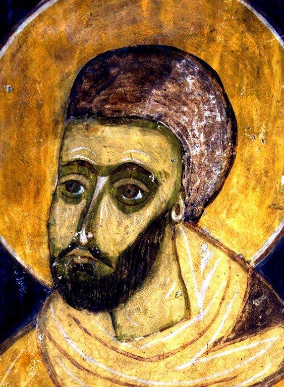 Святой Бессребреник Дамиан. Фреска церкви Святых Архангелов в Латали, Сванетия, Грузия.