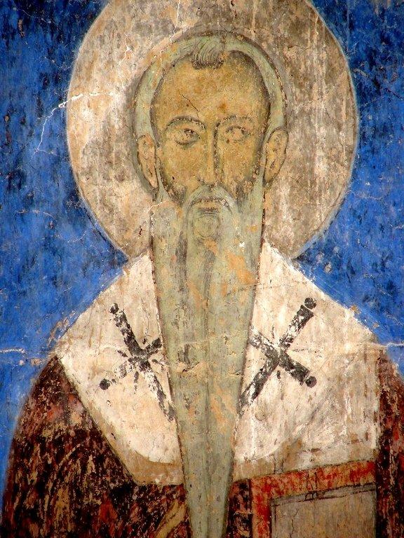 Лик Святителя. Фреска церкви Святого Николая в монастыре Кинцвиси, Грузия. Начало XIII века.