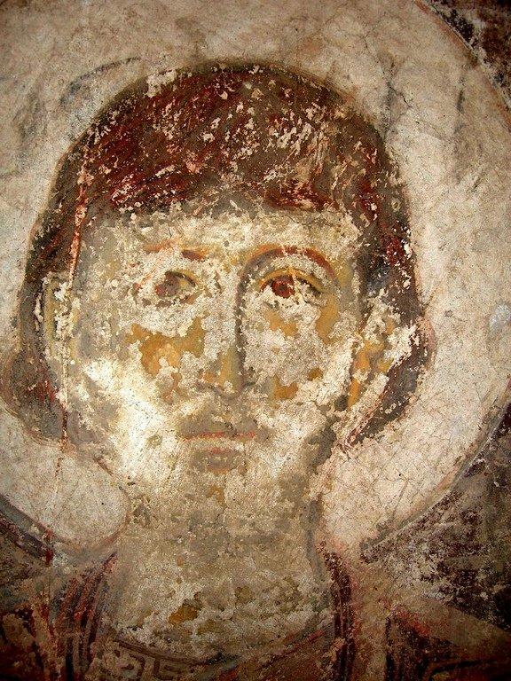 Лик Святого.Фреска храма Успения Пресвятой Богородицы в монастыреТимотесубани, Грузия. 1205 - 1215 годы.