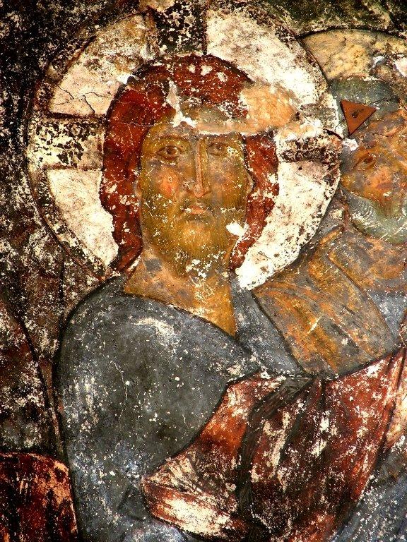 Лик Спасителя. Фреска пещерного монастыря Вардзиа (Вардзия), Грузия. XII век.