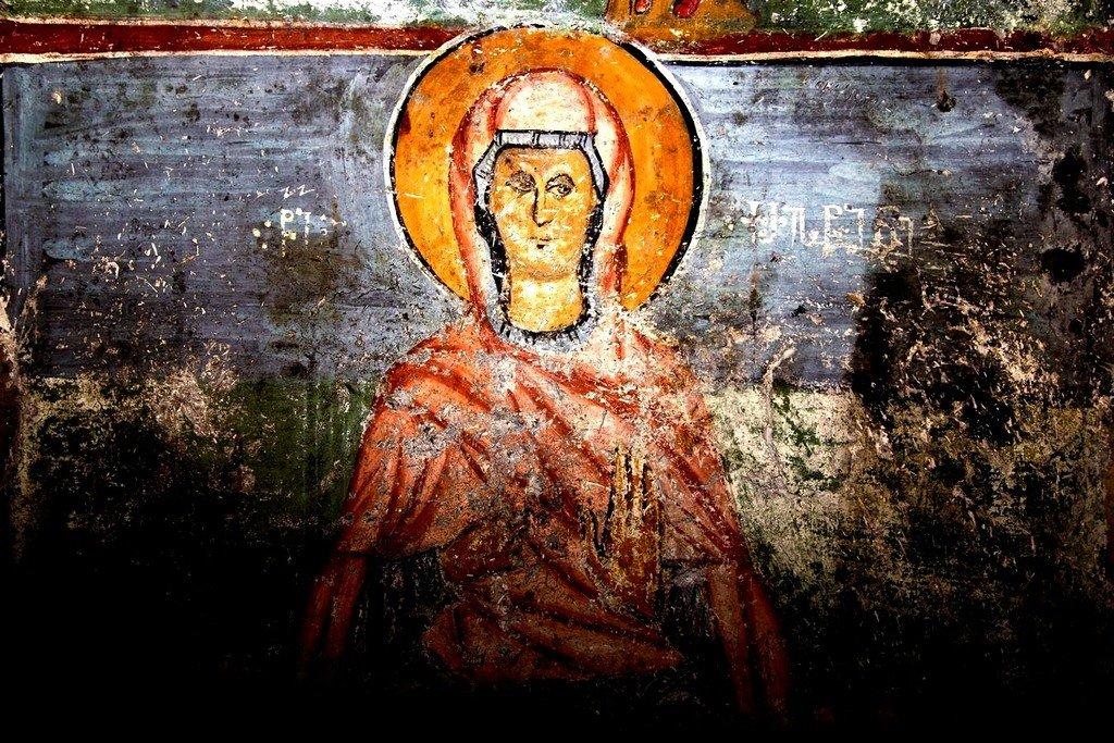 Святая Мученица Христина Тирская. Фреска церкви Преображения Господня в Лагами, Сванетия, Грузия. XIV век.