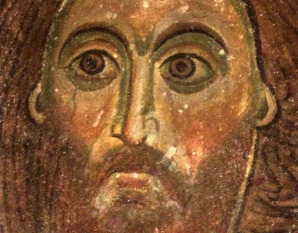 """Лик Спасителя. Фрагмент фрески """"Вознесение Господне"""". Монастырь Сапара, Грузия."""