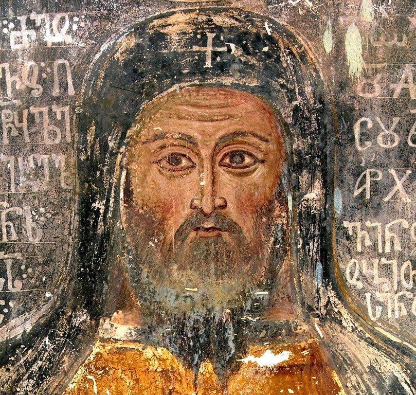 Католикос-Патриарх Евдемон. Фреска собора Христа Спасителя в Цаленджихе, Грузия.