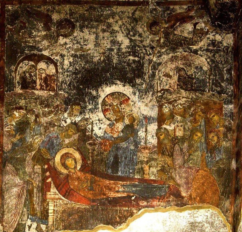 Успение Пресвятой Богородицы. Фреска пещерного монастыря Вардзиа (Вардзия), Грузия. XII век.