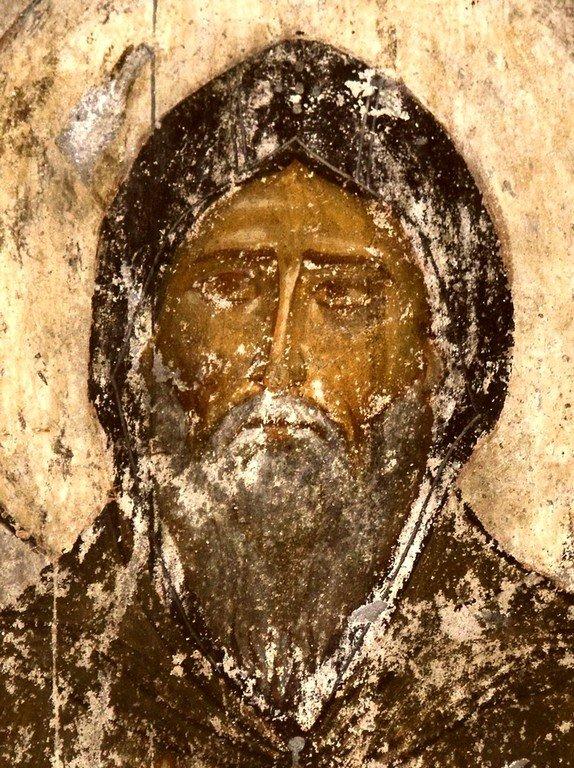 Святой Преподобный Симеон Столпник. Фреска пещерного монастыря Вардзиа (Вардзия), Грузия. XII век.