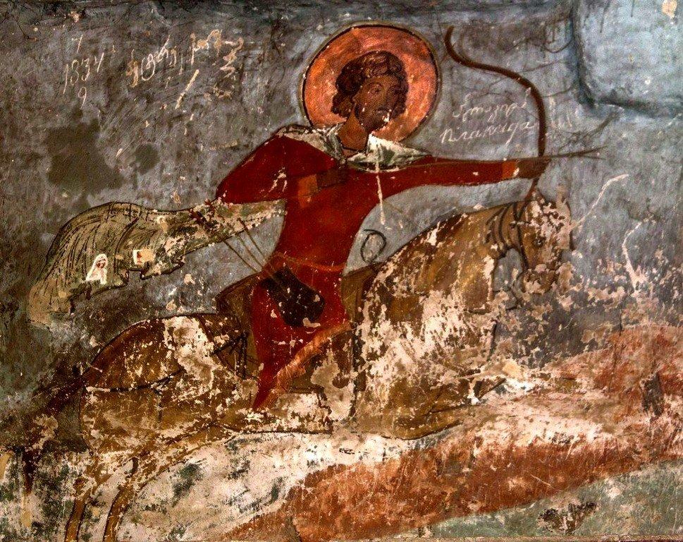 Святой Великомученик Евстафий Плакида. Фрагмент фрески, изображающей видение Святого Евстафия. Храм Святого Саввы в монастыре Сапара, Грузия. XIV век.