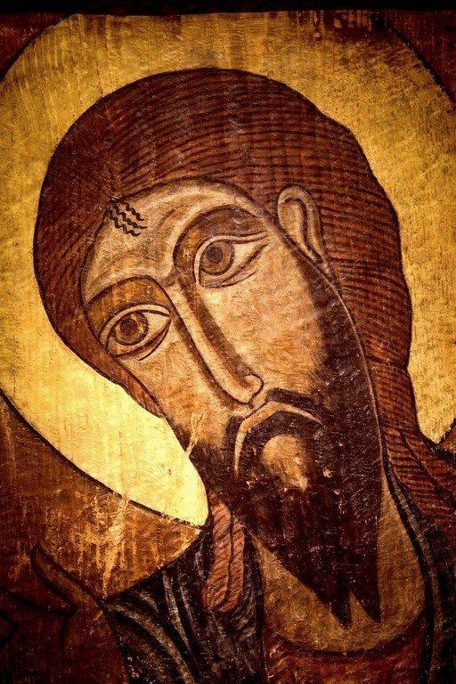 Святой Пророк Иона. Сванская икона. Музей истории и этнографии Сванетии, Местия, Грузия. Лик.
