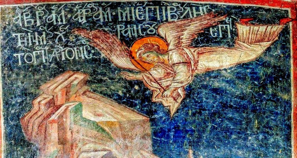Ангел Господень возвещает Аврааму повеление Божие не приносить в жертву Исаака. Фреска Успенского храма в селе Лыхны, Абхазия. Начало XIV века.
